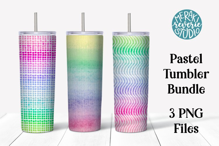 Pastel Rainbow Skinny Tumbler Designs for Sublimation example image 1