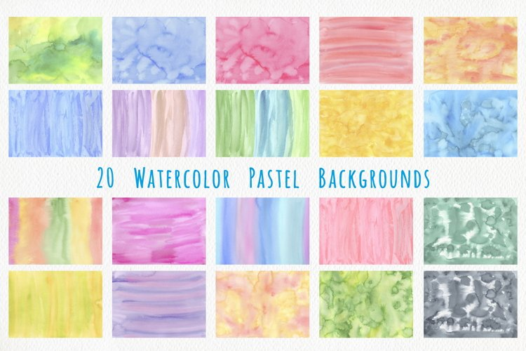Colorful Pastel Watercolor Backgrounds - Abstract Set