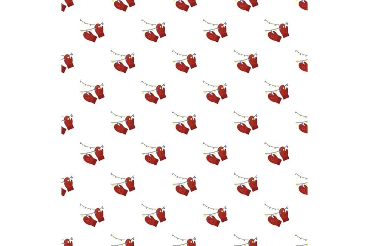 Red winter gloves pattern seamless vector