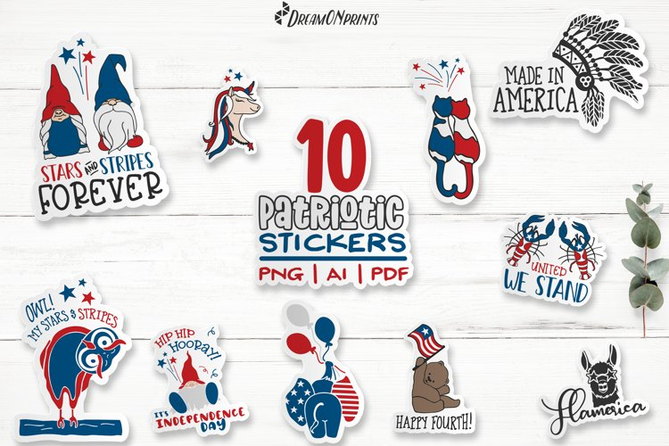 Patriotic Stickers Bundle   Independence Day Stickers example image 1