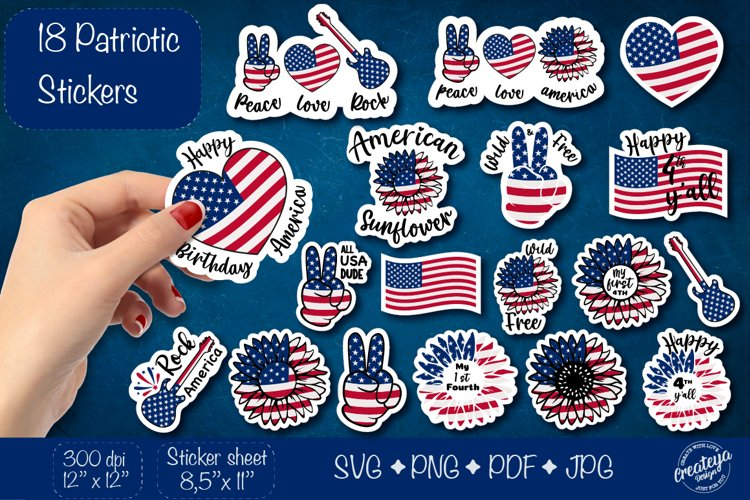 Patriotic stickers. 4th of July Stickers. Sticker Pack svg.