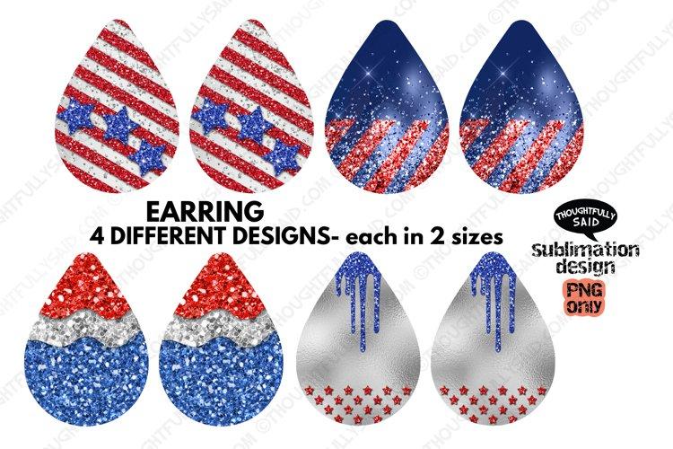 Teardrop EARRING Sublimation PNGs Bundle, 4 Patriotic Design
