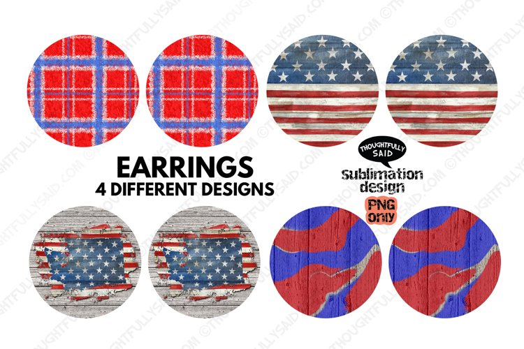 4 Round EARRING Sublimation PNGs Bundle, Patriotic July 4th