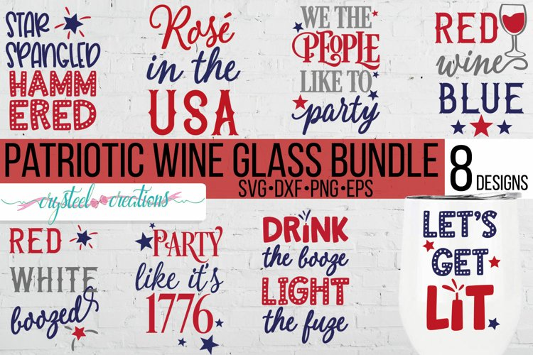 Patriotic 4th of July Wine Bundle SVG, DXF, PNG, EPS