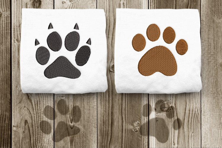 Dog and Cat Paw Mini Embroidery Design Duo