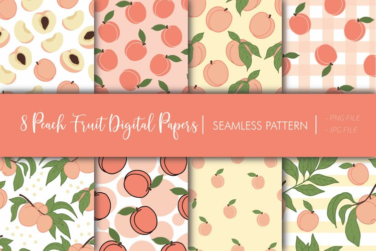 Peach Fruit Digital Papers - Seamless Pattern example image 1