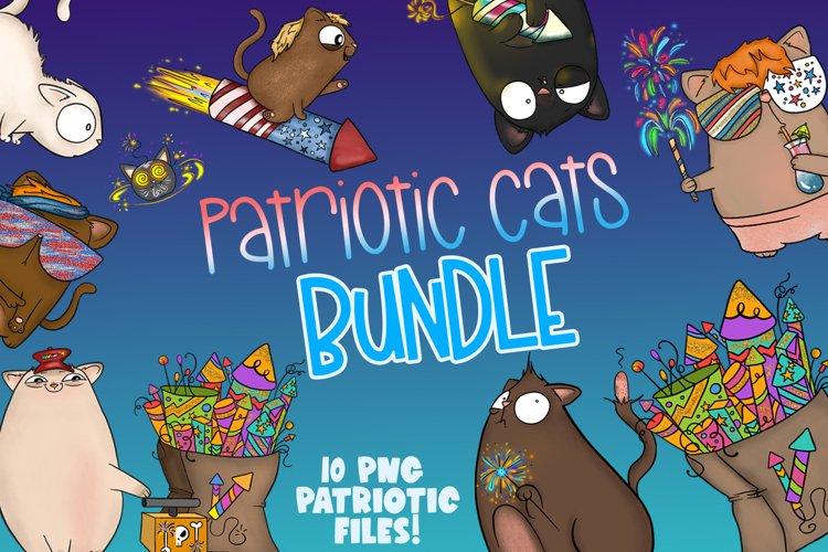 Patriotic Cats Bundle|4th of July Clipart|Cat Clipart|PNG