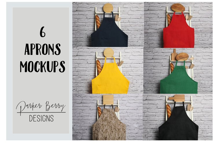 6 Apron Mockups: Blue, Red, Yellow, Green, Cameo, and Black