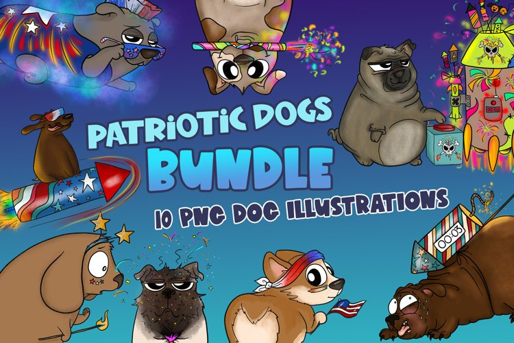 Patriotic Dogs Bundle|4th of July Clipart|Dog Clipart|PNG