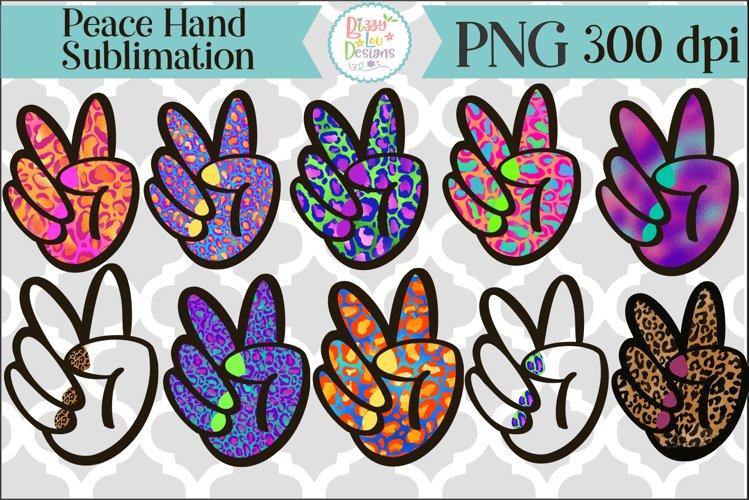 Peace Hand Sublimation Leopard Print Hand