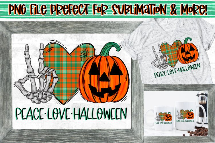 Peace Love Halloween Skeleton Hand Peace Sign PNG Design example image 1