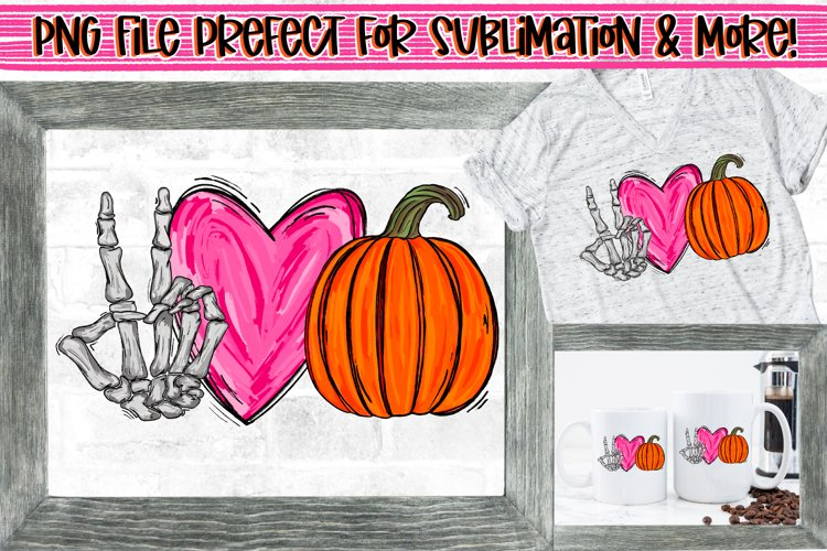 Peace Love Pumpkins Skeleton Hand Peace Sign Design PNG File