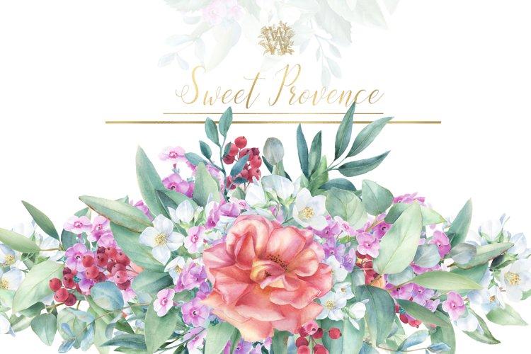 Watercolor rose bouquets clip art, provence peach floral