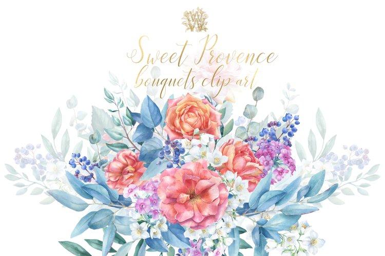 Peach floral wedding bouquets clip art, Watercolor rose