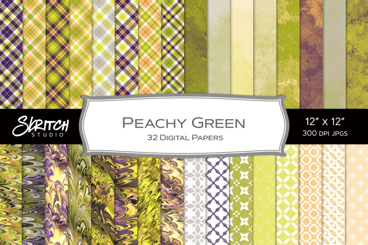 Peachy Green - 32 Seamless Plaid, Patterns and Textures