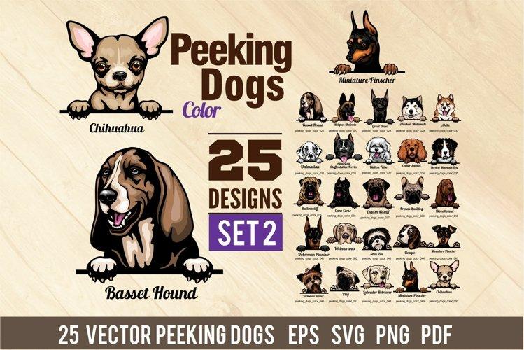 Peeking Dogs - Color Set 2 - 25 vector designs example image 1