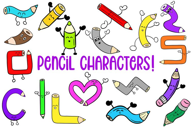 188 Coloured Pencil Cartoon Characters Illustration Bundle