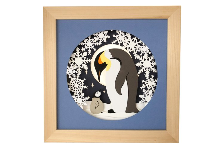 Penguin Paper Craft Template, Layered Paper Cut Shadow Box