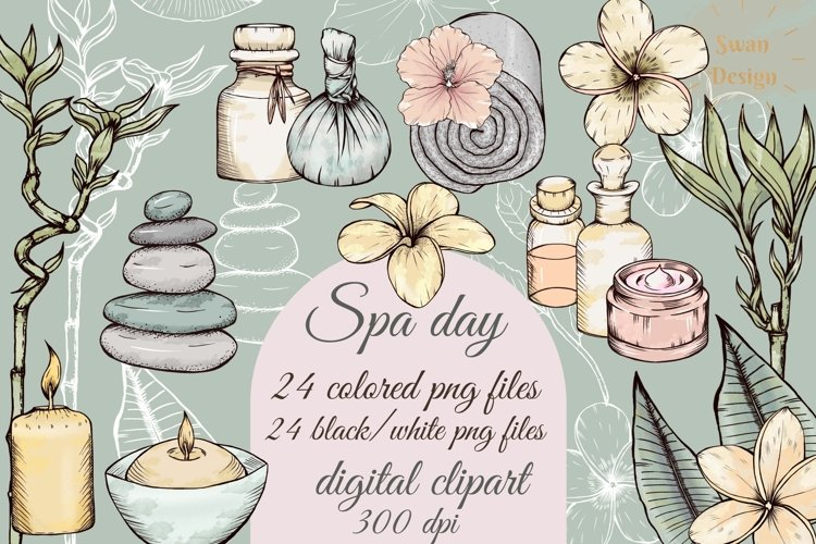 Spa day clipart, wellness png, beauty and selfcare clip art,