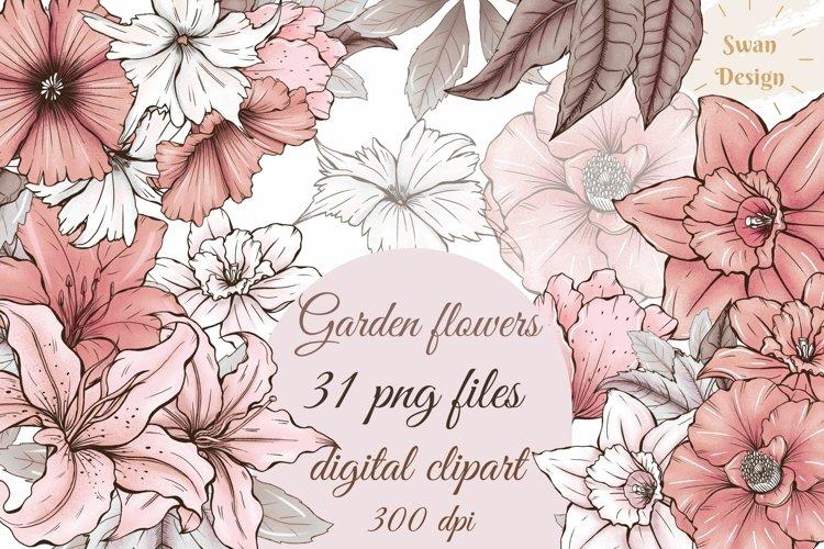 Cute pink garden flowers clipart, wedding floral design png