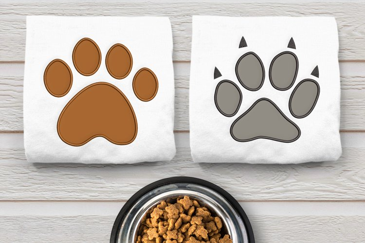 Dog and Cat Paw Applique Embroidery Design Duo