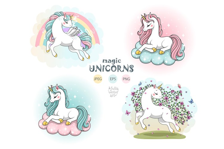 Magic vector unicorns clipart with rainbow, flowers, clouds
