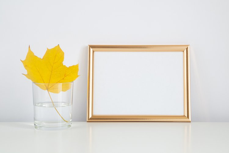 Fall mockup, frame with autumn leaf. Halloween, thanksgiving