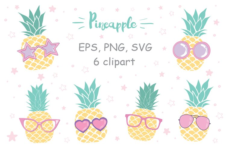 Pineapple wearing sunglasses vector collection