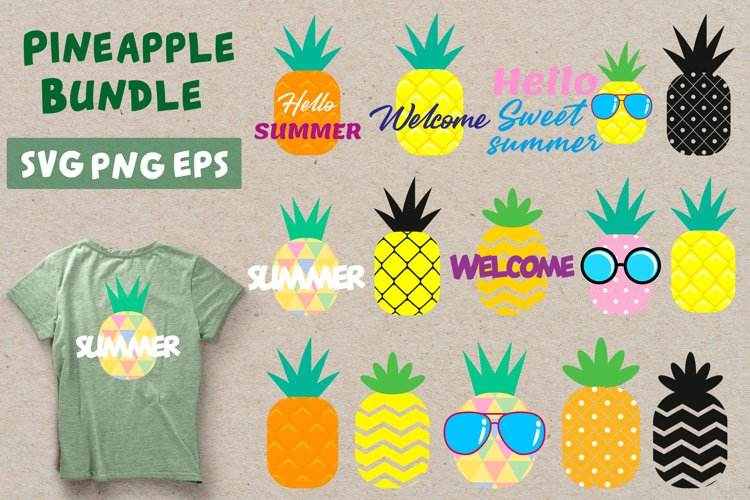 Pineapple Bundle SVG. Summer Pineapples