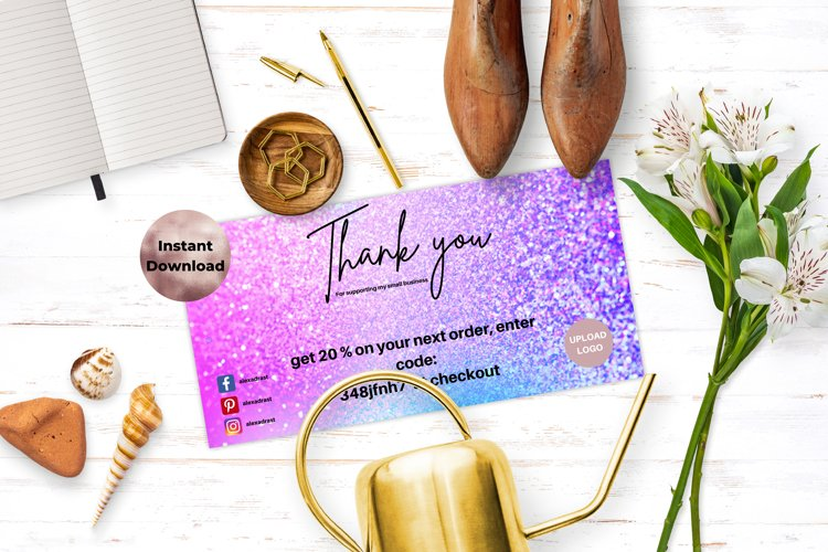Pink and Blue Holographic Thank You Card