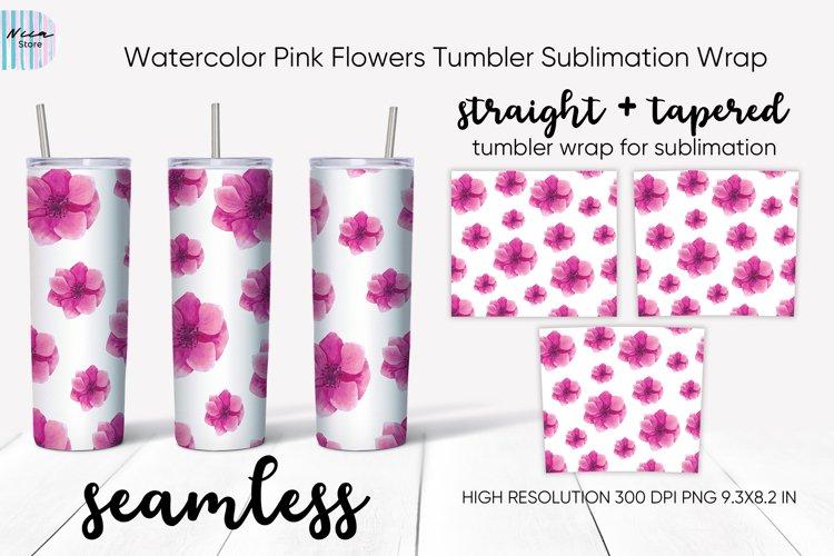 Pink Flowers Seamless Skinny Tumbler Sublimation Wrap 20 Oz example image 1