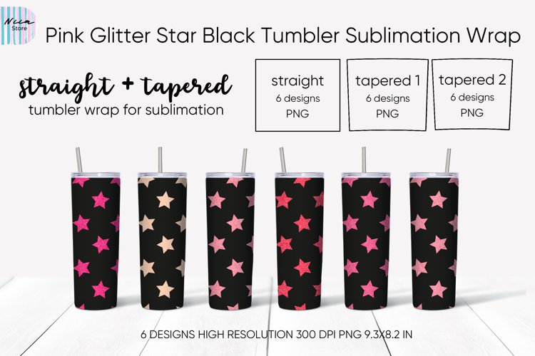 Pink Glitter Star Skinny Black Tumbler Sublimation Wrap