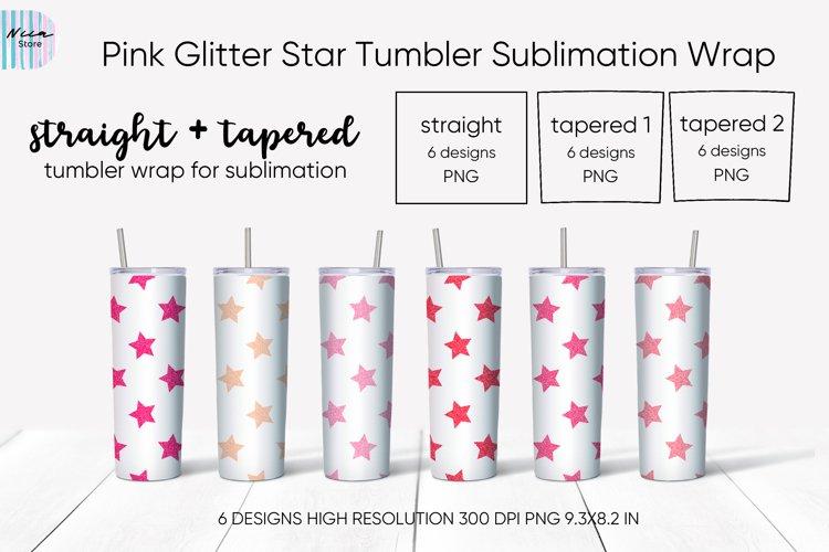 Pink Glitter Star Skinny Tumbler Sublimation Wrap 20 Oz