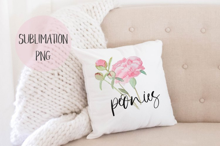 Pink Peonies Watercolor Sublimation Design example image 1