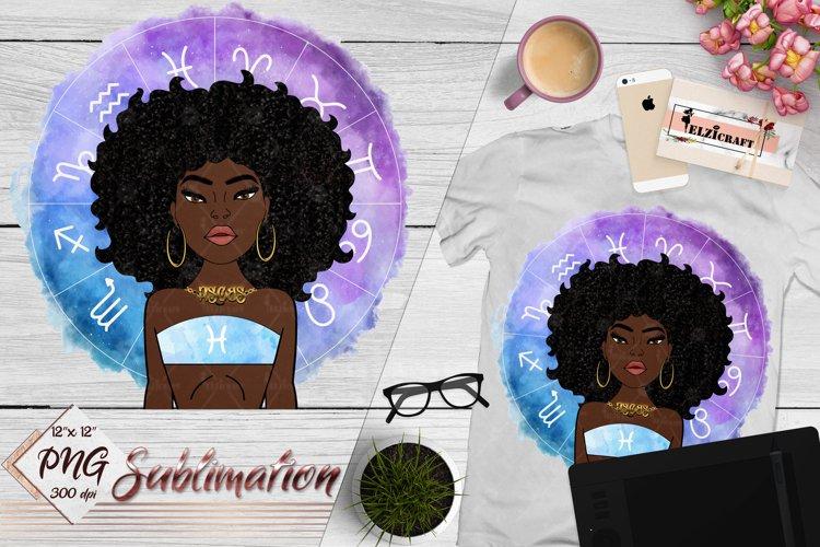 Pisces Sign, Zodiac, Afro Woman Sublimation Designs