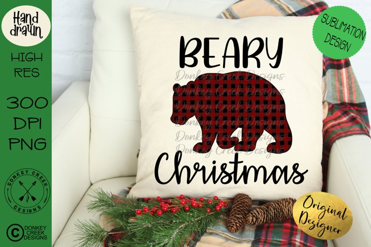 Sublimation Design-Beary Christmas Plaid Bear PNG example image 1