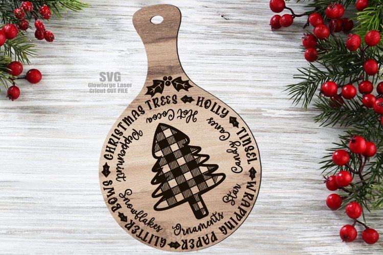 Plaid Tree Christmas Words Cutting Board SVG Glowforge Files example image 1