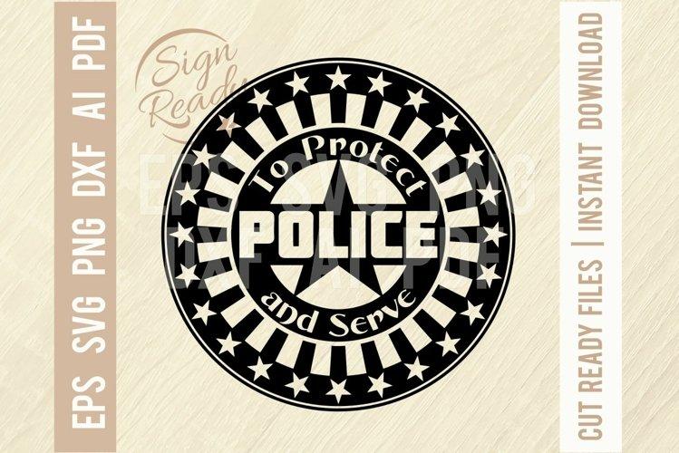 Police badge SVG, Police Stencil cut file, Police svg example image 1