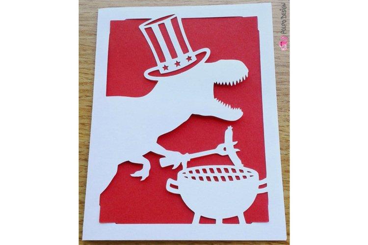Patriotic T-Rex BBQ Card SVG, Eps, Dxf, Png.