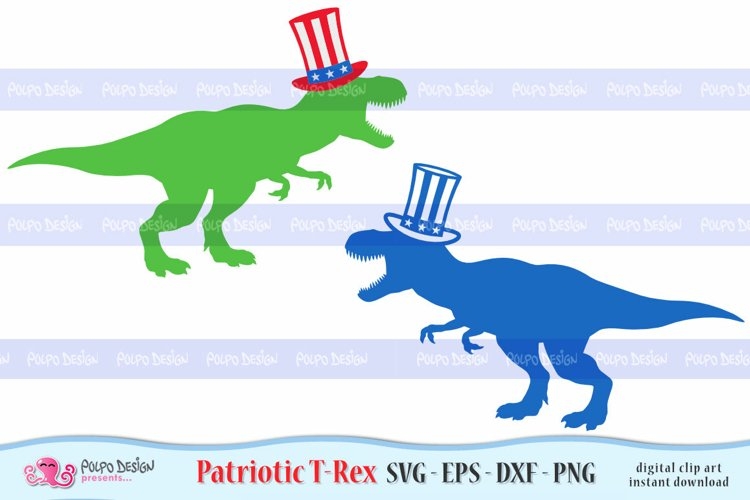 Patriotic T-Rex SVG, Eps, Dxf, Png.