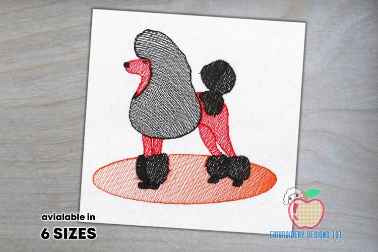 Poodle Dog Sketch Embroidery