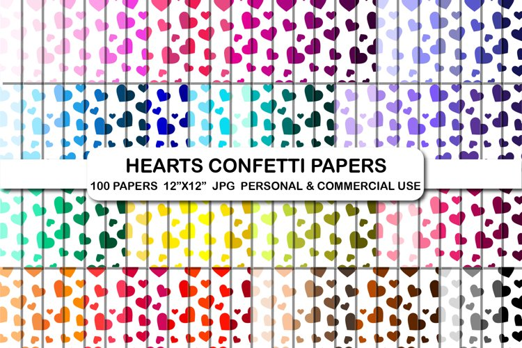 Hearts confetti digital papers, Heart background pattern