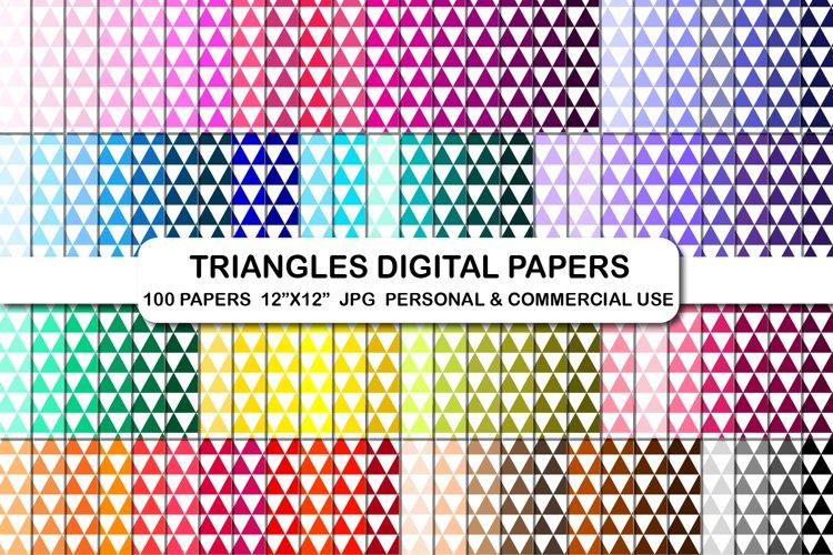 100 Triangle Pattern Digital Papers Set, Geometric backgroud