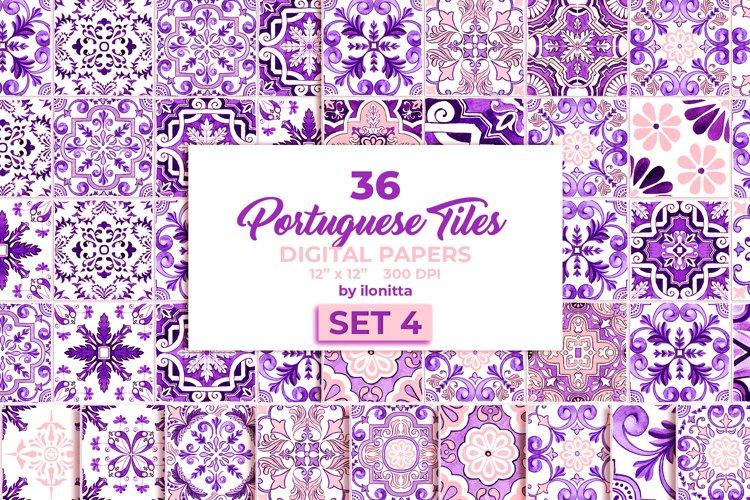 Portuguese Purple Azulejo Tiles Set4 example image 1