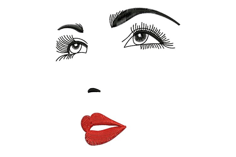 Woman Face machine embroidery designs