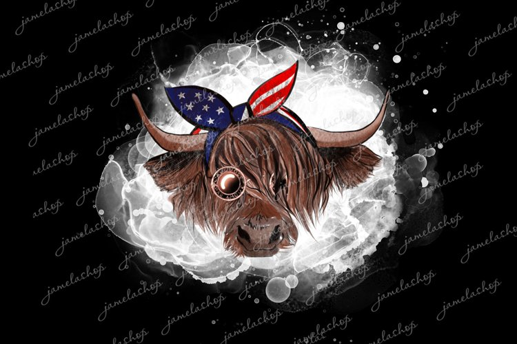 4th July Highland cow with glasses and bandana PNG clipart example image 1