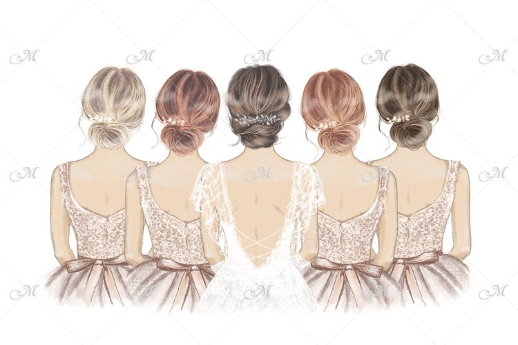 Bride & 4 Bridesmaids Illustration w Separate Characters