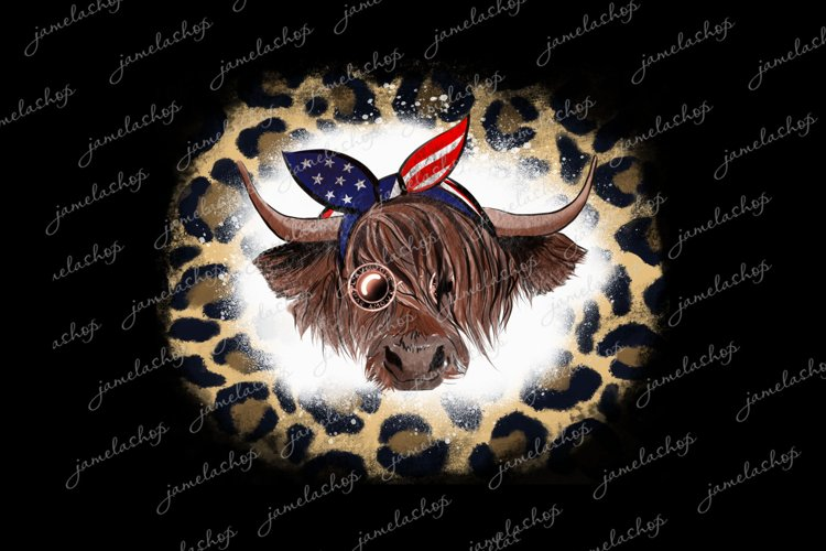 Highland cow with glasses and bandana PNG 4th july clipart example image 1