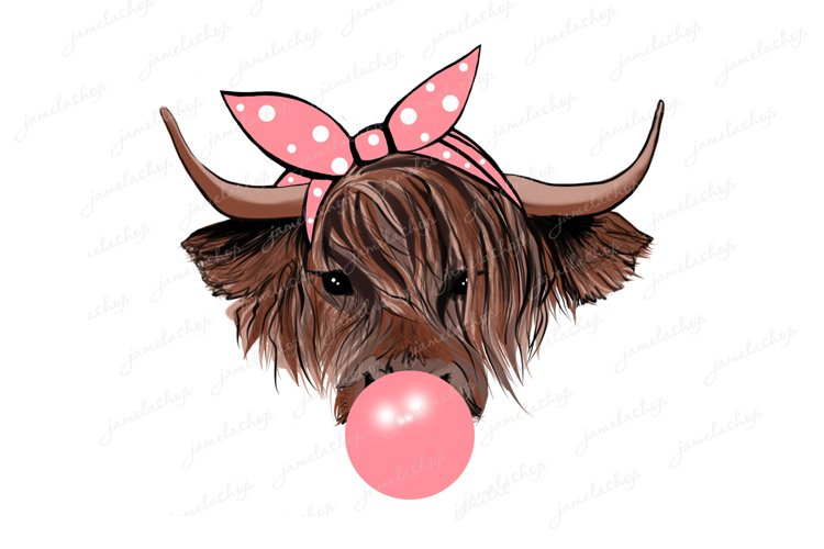 Highland cow with bubble gum and pink bandana PNG example image 1