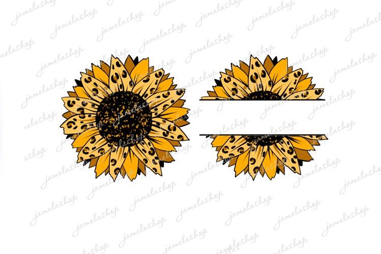Split cheetah Sunflower PNG Monogram flower clip art example image 1